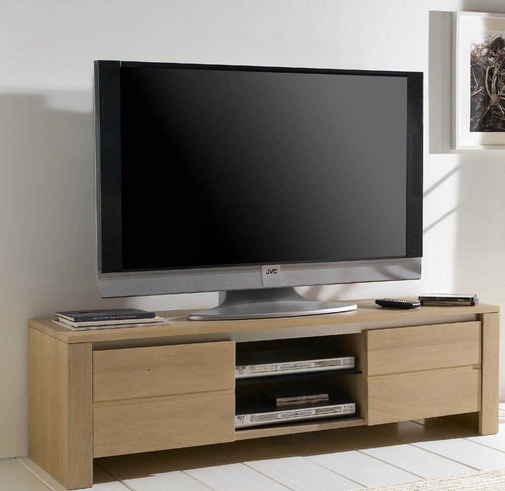 Banc tv ch ne contemporain lucas meubles turone - Meuble tv chene massif contemporain ...