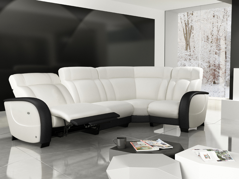 canape cuir blanc relax maison design. Black Bedroom Furniture Sets. Home Design Ideas