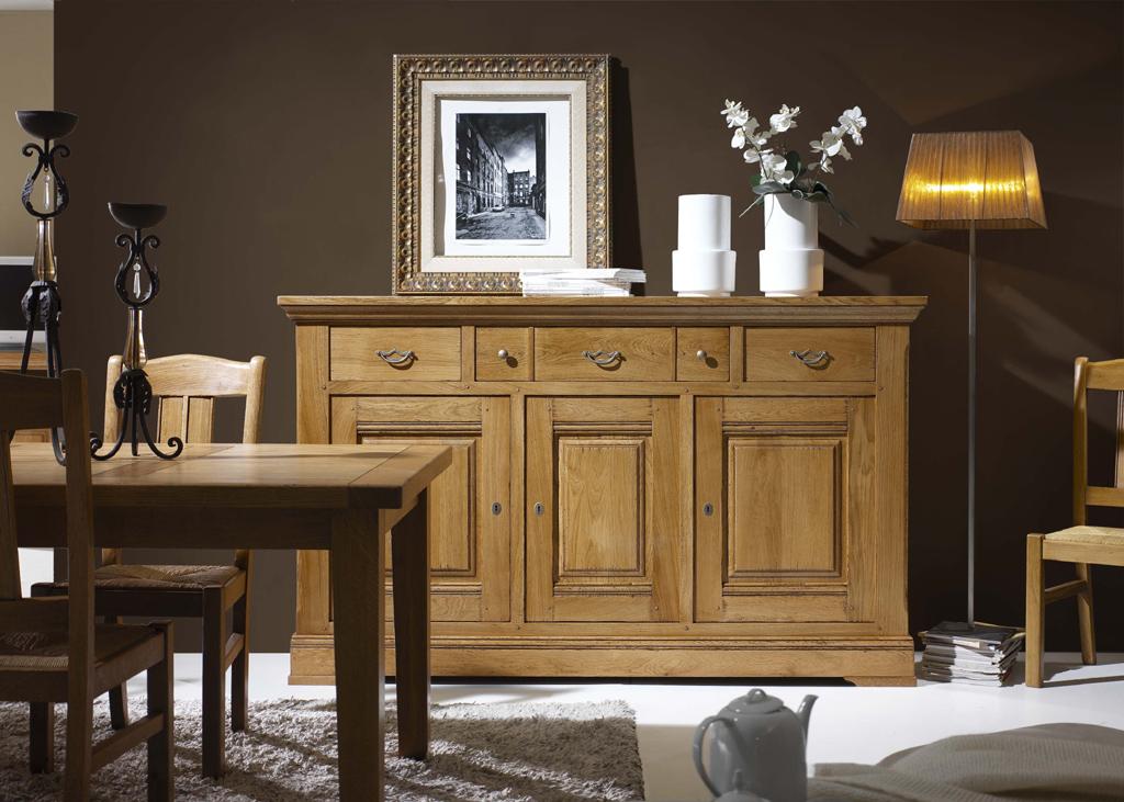 enfilade bois massif 3 portes 3 tiroirs cornouaille. Black Bedroom Furniture Sets. Home Design Ideas