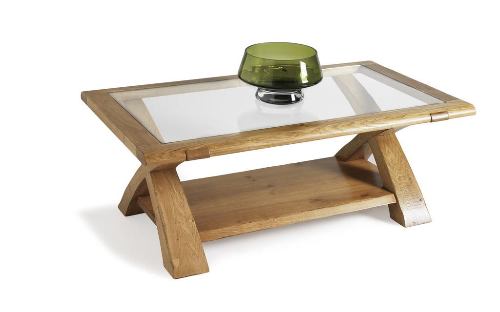 table basse rectangulaire dessus verre et ch ne meubles turone. Black Bedroom Furniture Sets. Home Design Ideas