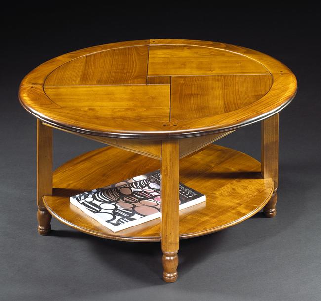 Table basse ronde merisier meubles turone for Table basse en merisier