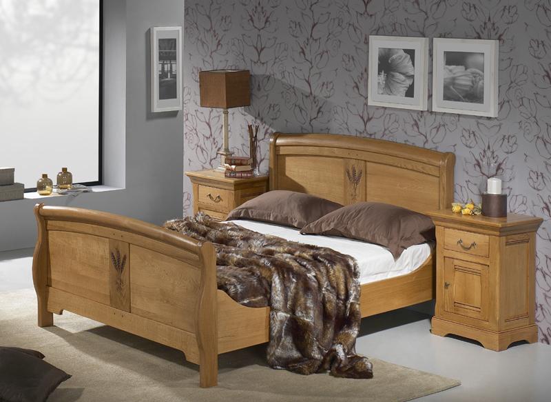 Chambre Rustique Chene Massif : Lit bois massif marcillac — meubles turone
