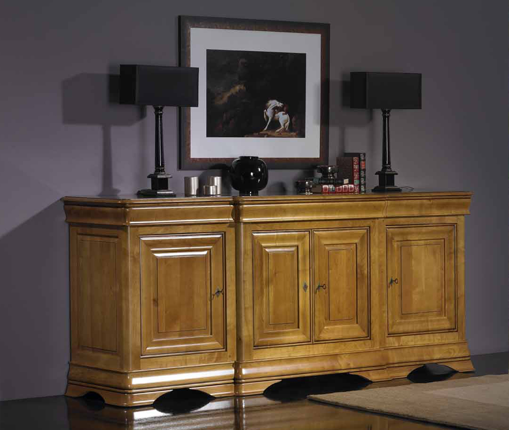 Meuble en merisier buffet 4 portes emotion meubles turone for Meuble turone