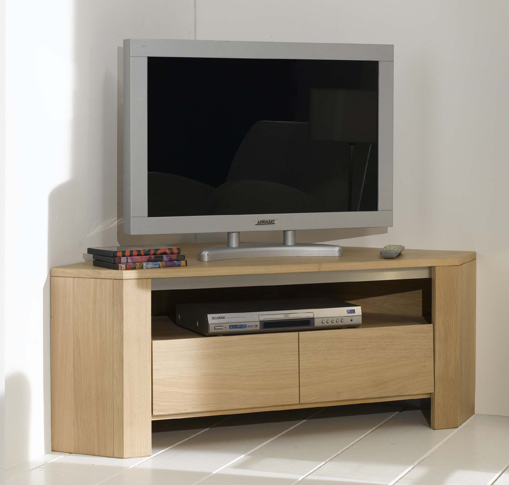 Meuble tv angle contemporain design solutions pour la for Meuble angle tv bois