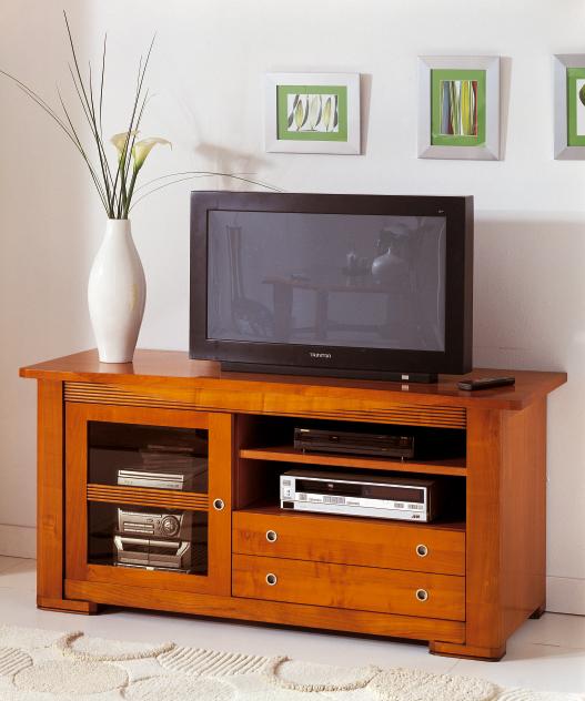 Meuble Tv Bas En Merisier ~ Idées de Décoration et de Mobilier Pour La Concep -> Meuble Tv Moderne En Merisier