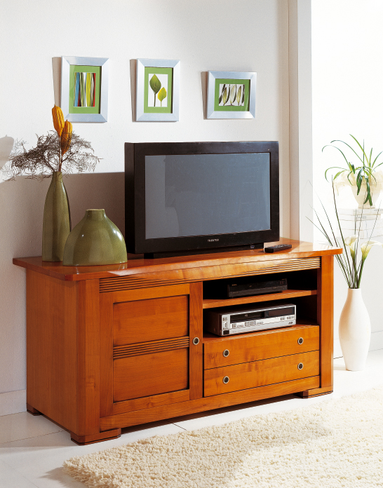 meuble tv r tro en merisier meubles turone. Black Bedroom Furniture Sets. Home Design Ideas