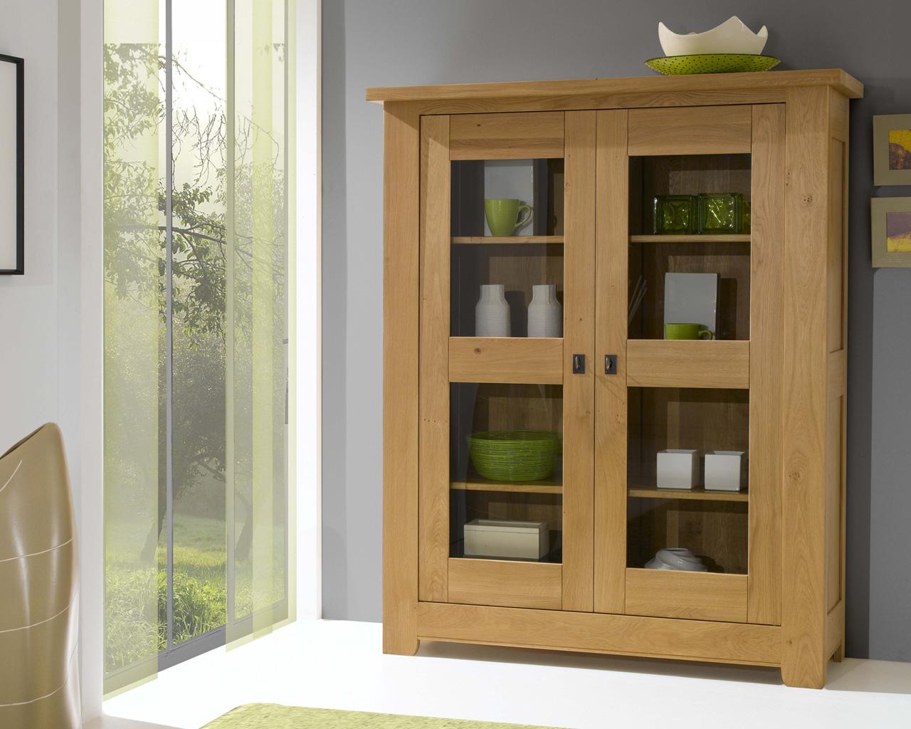 Meuble vitrine 2 portes alicia meubles turone - Meuble chene clair ...