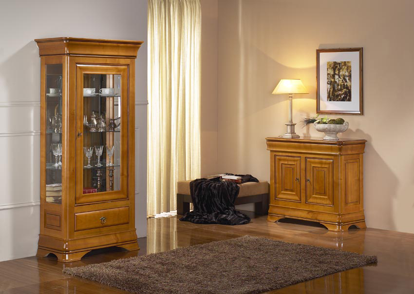meuble vitrine en merisier louis philippe meubles turone. Black Bedroom Furniture Sets. Home Design Ideas