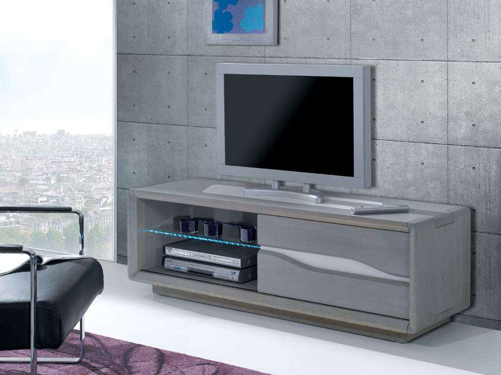 Meuble tv en bois massif grand mod le emma meubles turone for Meuble turone