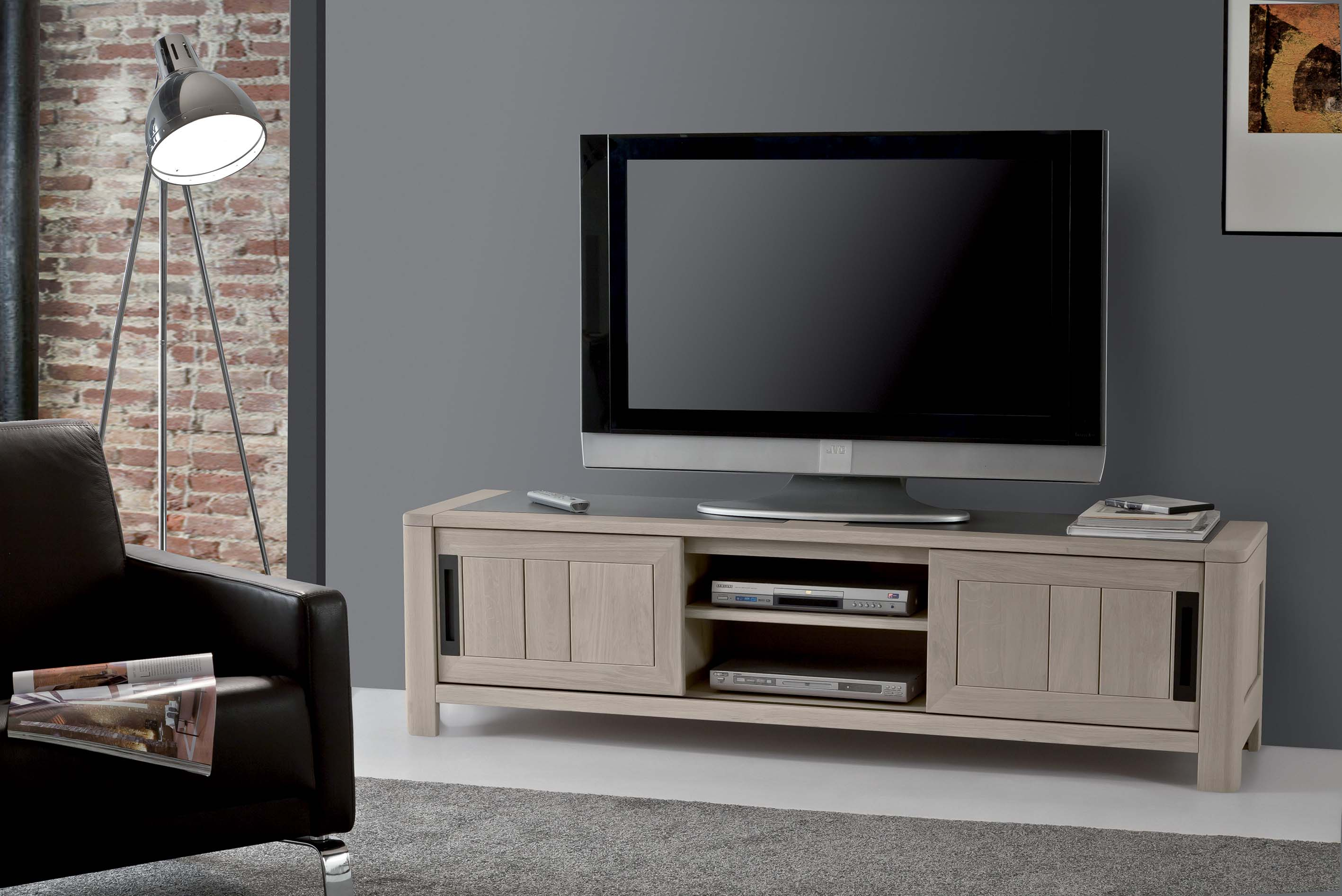 meuble tv 2 portes avec 1 niche meubles turone. Black Bedroom Furniture Sets. Home Design Ideas