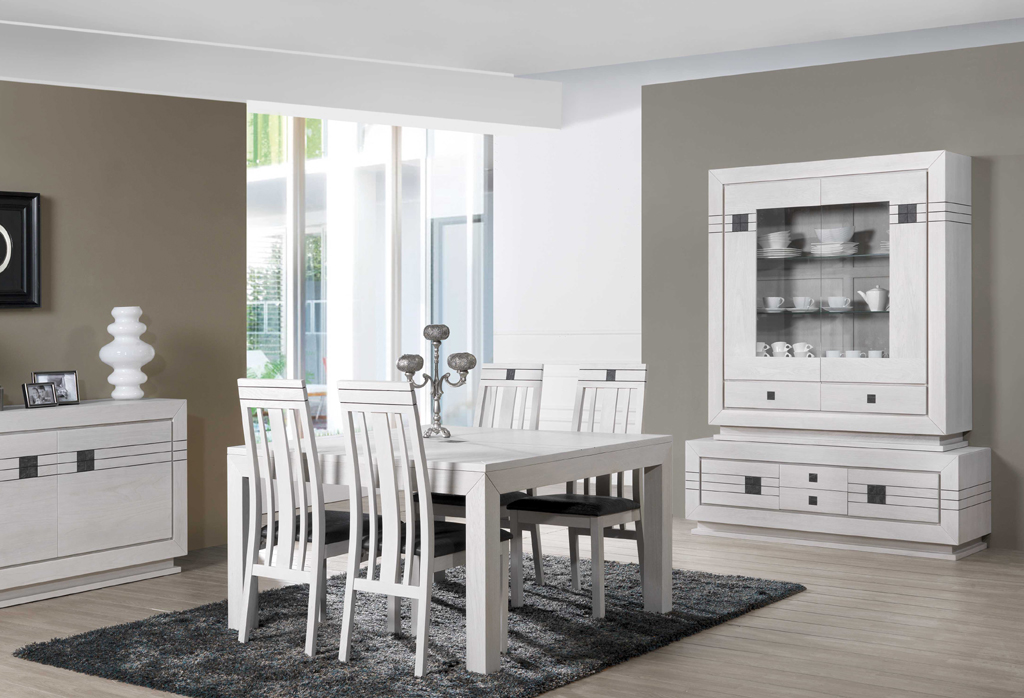 Meuble salle manger bois blanc pictures to pin on pinterest for Table a manger bois blanc