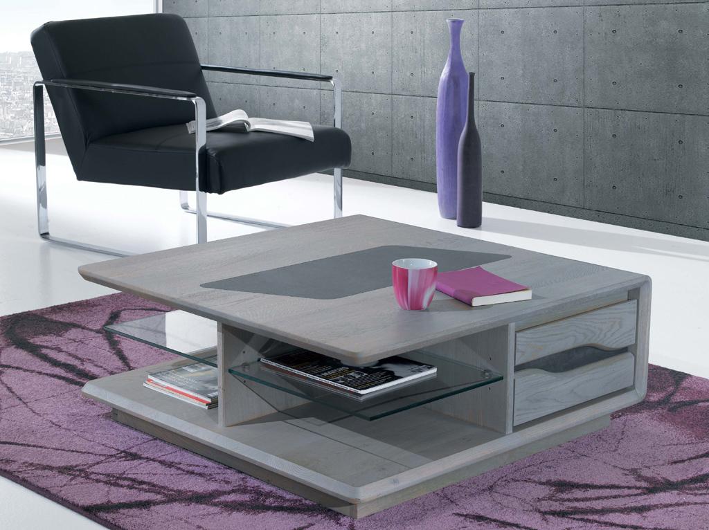 Table basse carr e 2 tiroirs en ch ne emma meubles turone - Table basse salon carree ...