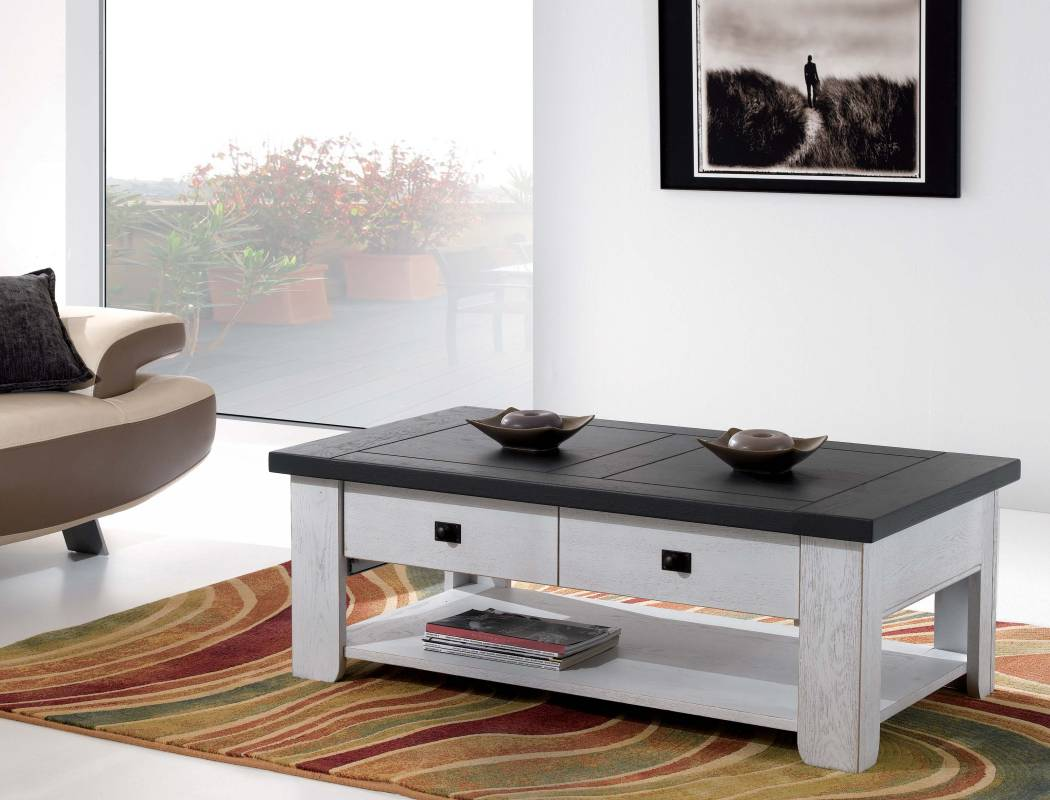 Table basse rectangulaire en ch u00eane Alicia u2014 Meubles Turone # Table Salon En Bois