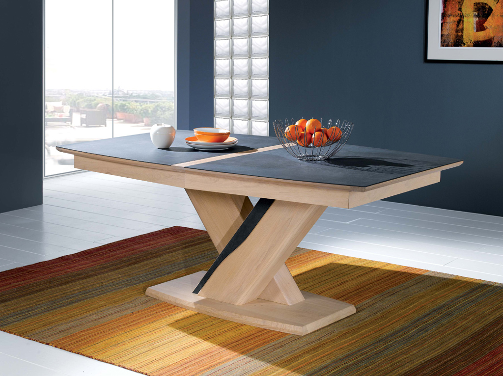 Table ovale pied central emma meubles turone - Table pied central avec allonge ...