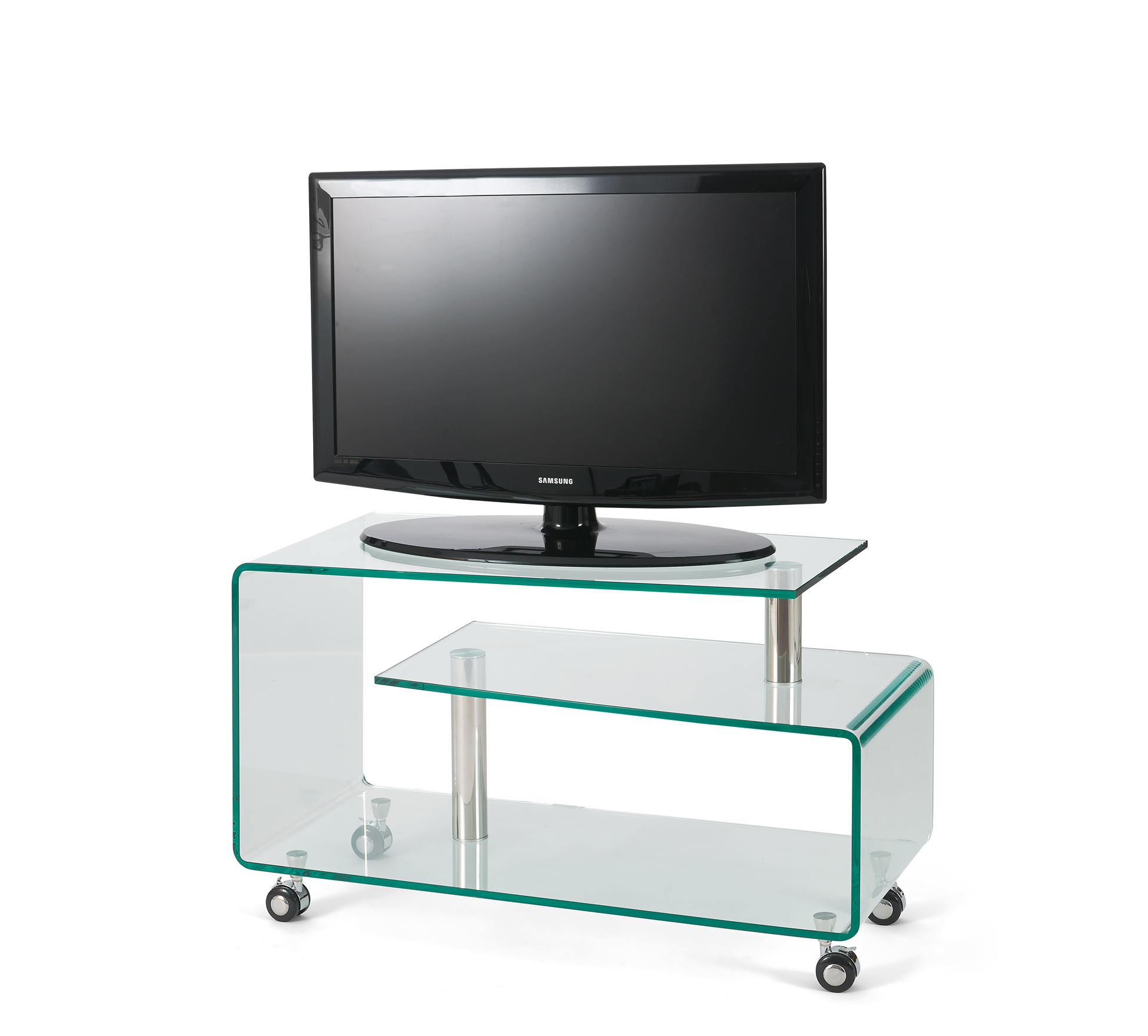 Meuble Tv En Verre But Interesting Meuble Tv Space Verre Noir  # Meuble Tv A Roulettes But