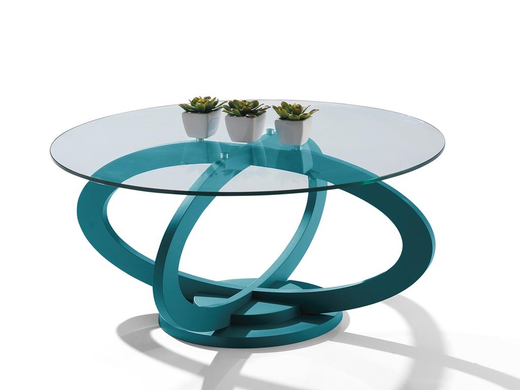 Table basse ronde dessus verre tremp oc ane meubles turone - Table basse dessus verre ...