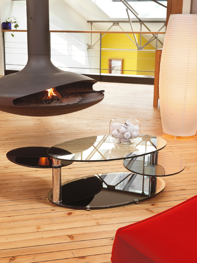 Table basse ovale moderne verre 2 plateaux meubles turone for Table cuisine ovale verre