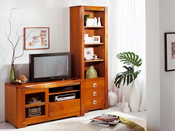 meuble tv bas merisier massif – Artzein.com
