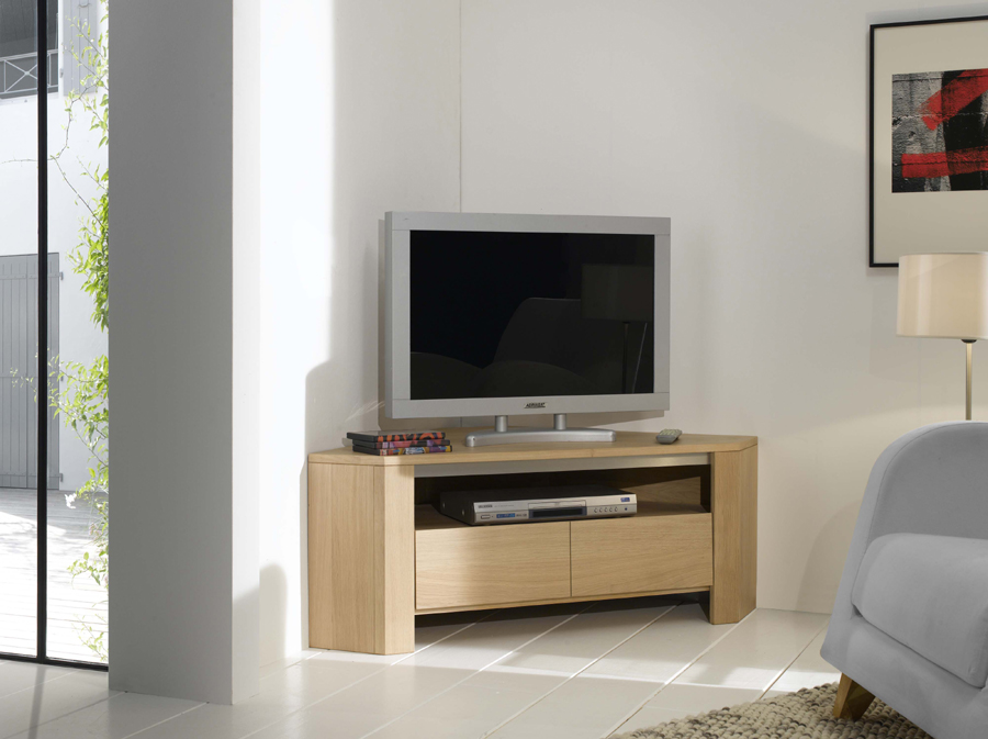 Meuble tv d 39 angle contemporain en ch ne lucas meubles turone for Meuble tele contemporain