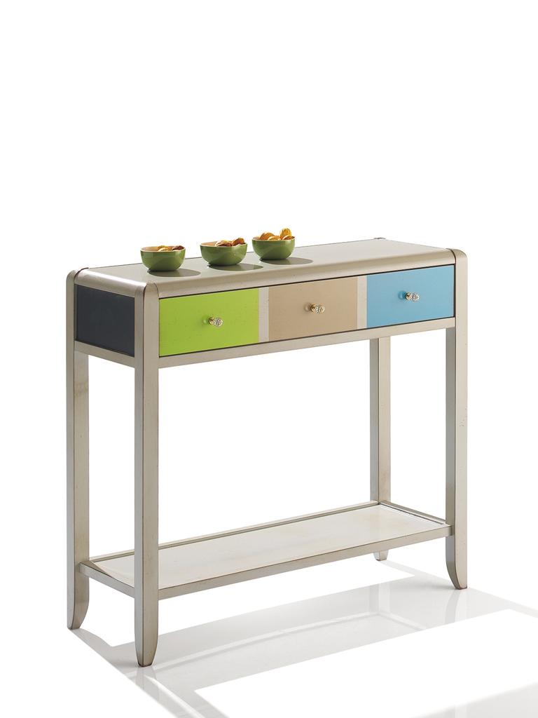 Petite console laqu e patin e couleurs multiples 3 motifs - Petite console meuble ...
