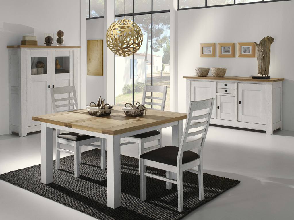 Table carr e pieds en ch ne blanchi alicia meubles turone for Table a manger bois blanc