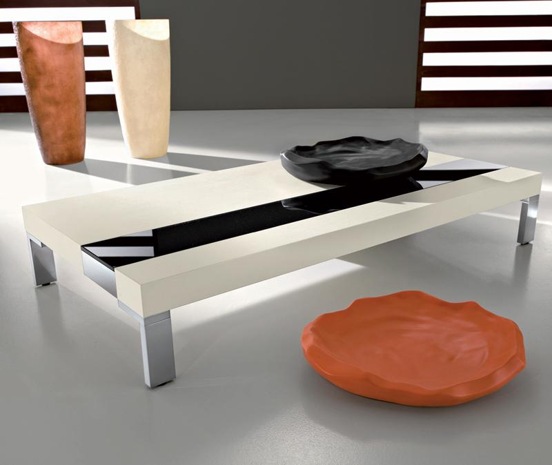 Table basse noir et inox - Table basse verre noir ...