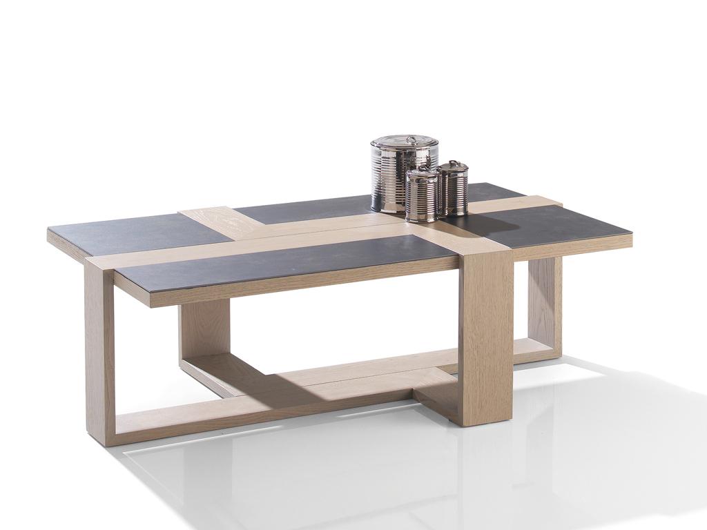 Table basse rectangulaire ch ne et c ramique mallory for Table en ceramique rectangulaire