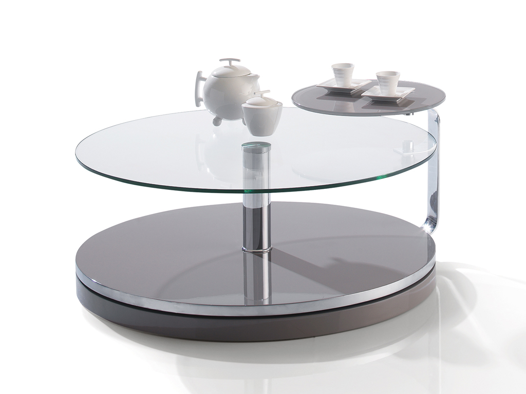Table basse ronde 90 cm no meubles turone for Table en verre de salon