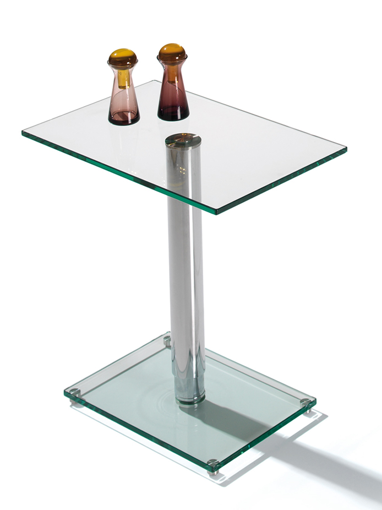 Tablette rectangulaire dessus verre tremp 10 mm pied chrom manhattan meub - Tablette verre trempe ...